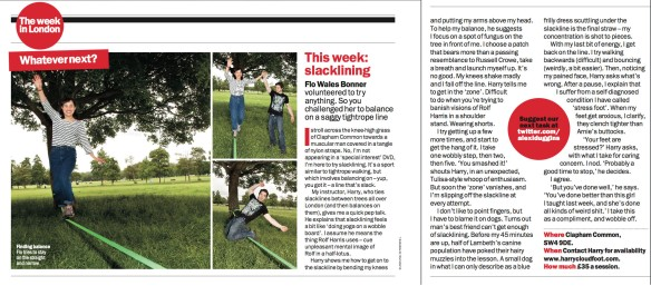 Time Out London magazine - Slacklining with Harry Cloudfoot